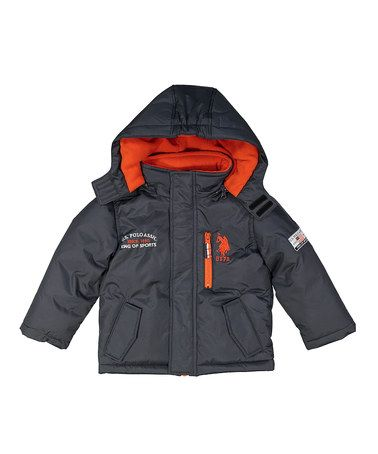 Loving this Charcoal & Orange Puffer Coat - Toddler & Boys on #zulily! #zulilyfinds