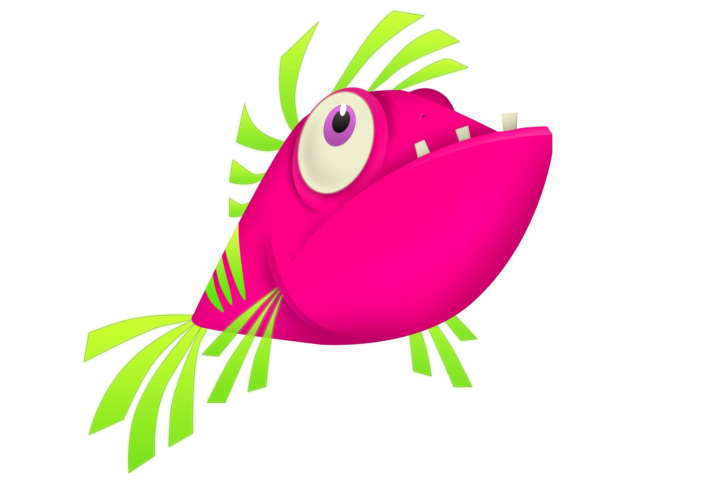 Exotic Pink Tropical Fish Character Royalty Free Stockazoo