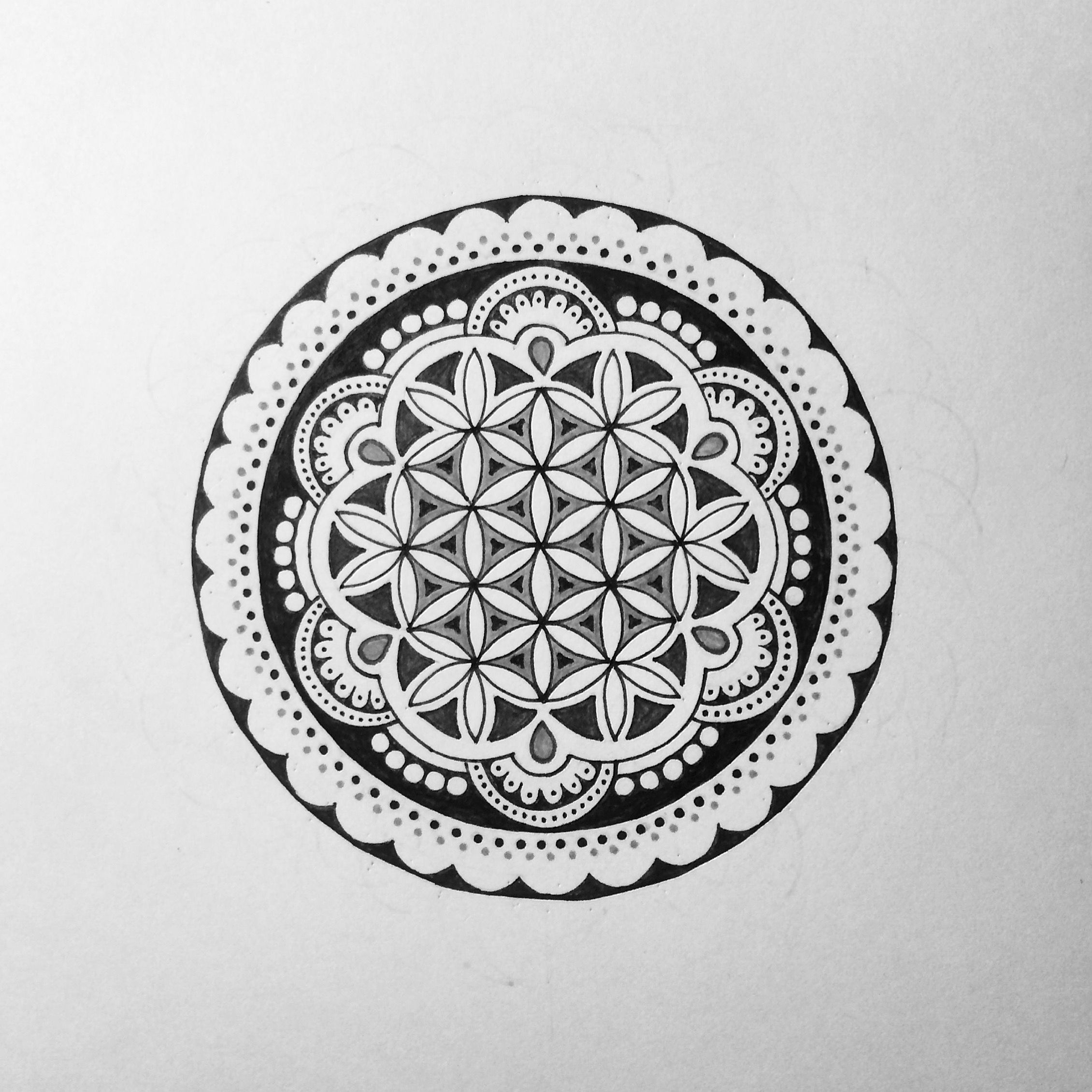 a flower of life mandala doodle i did for a tattoo design mandala tattoo tattoos. Black Bedroom Furniture Sets. Home Design Ideas
