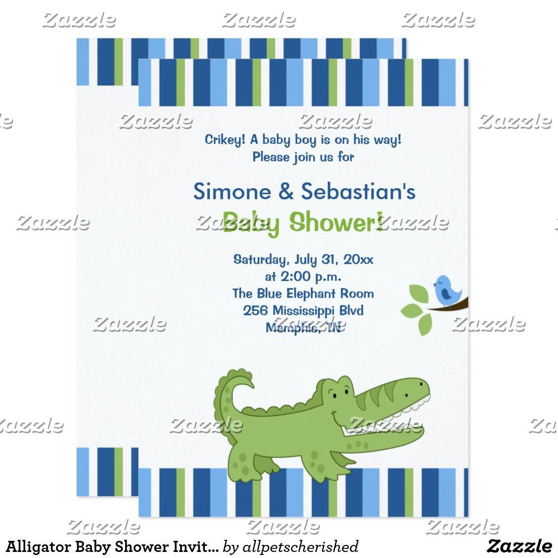 Alligator Baby Shower Invitation Blue/Green 4x6 | Alligator baby ...