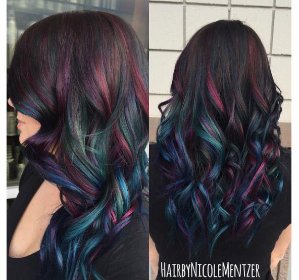 Fun Colors For People With Dark Hair Oil Slick Hair Color Peekaboo Hair Hair Styles