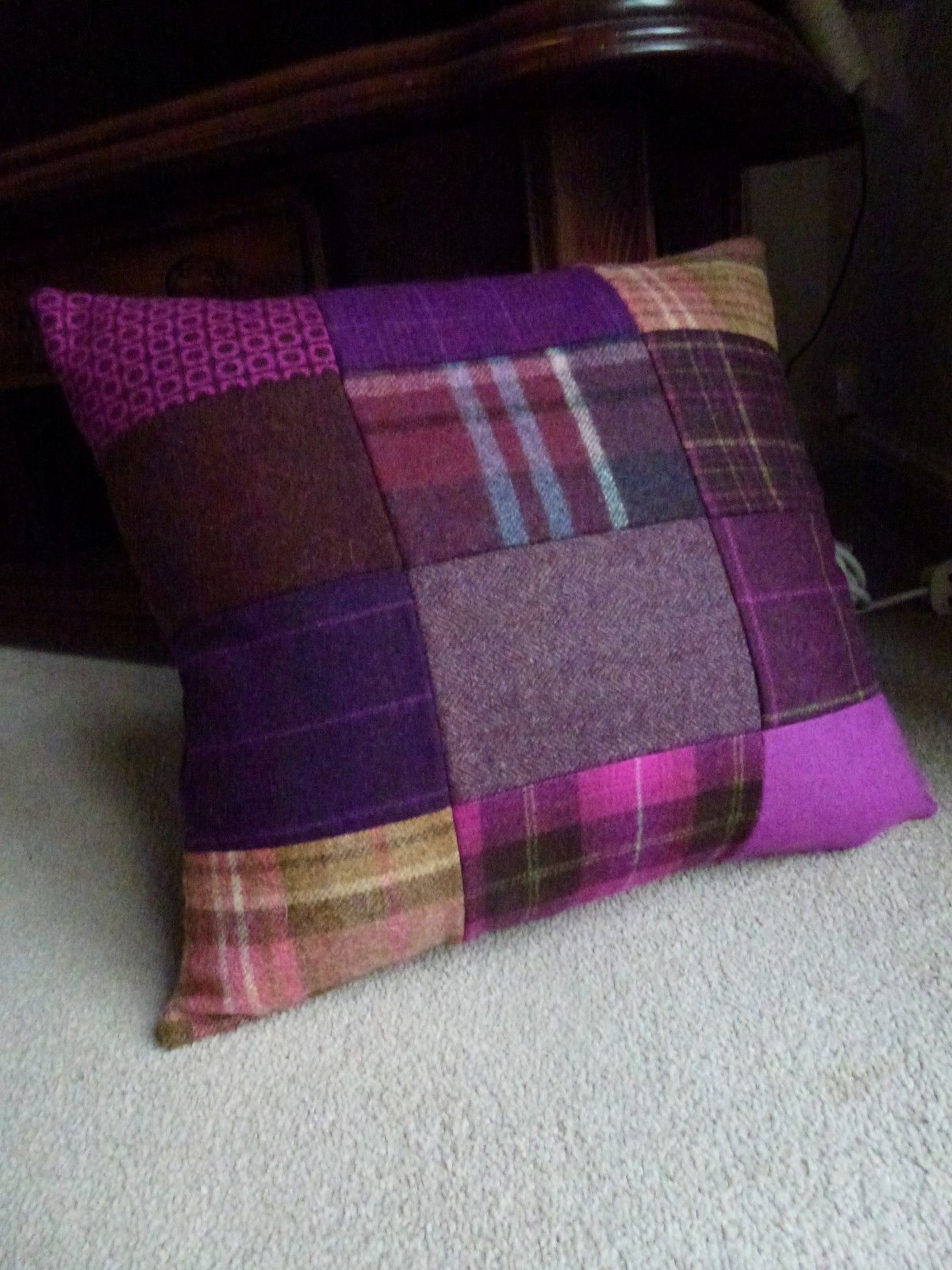 Luxury Thick John Lewis Patchwork Tweed Wool Cushion Cover Purple ...