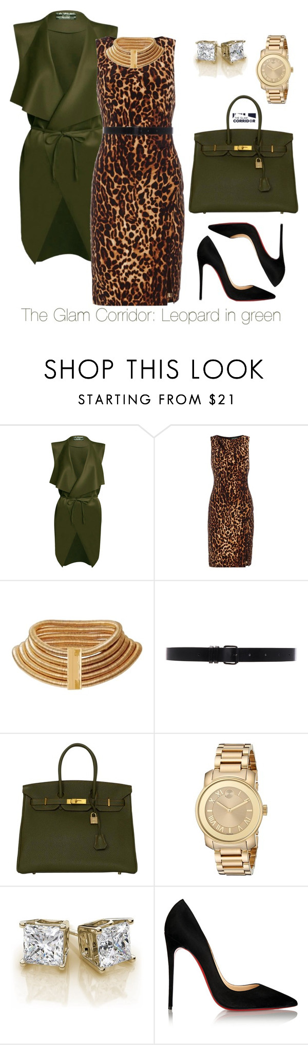 """""""Leopard in green"""" by theglamcorridor ❤ liked on Polyvore featuring Lauren Ralph Lauren, Balmain, Ann Demeulemeester, Hermès, Movado and Christian Louboutin"""