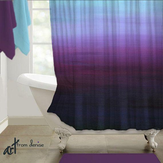 Shower Curtain Purple Gray Blue Plum Abstract Art Ombre Design