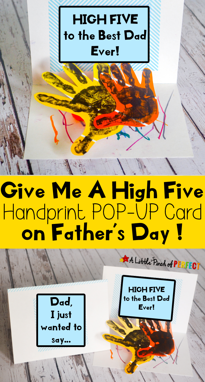 Give Me A High Five Handprint Father S Day Card Homemade Fathers Day Card Kids Fathers Day Crafts Diy Birthday Cards For Dad