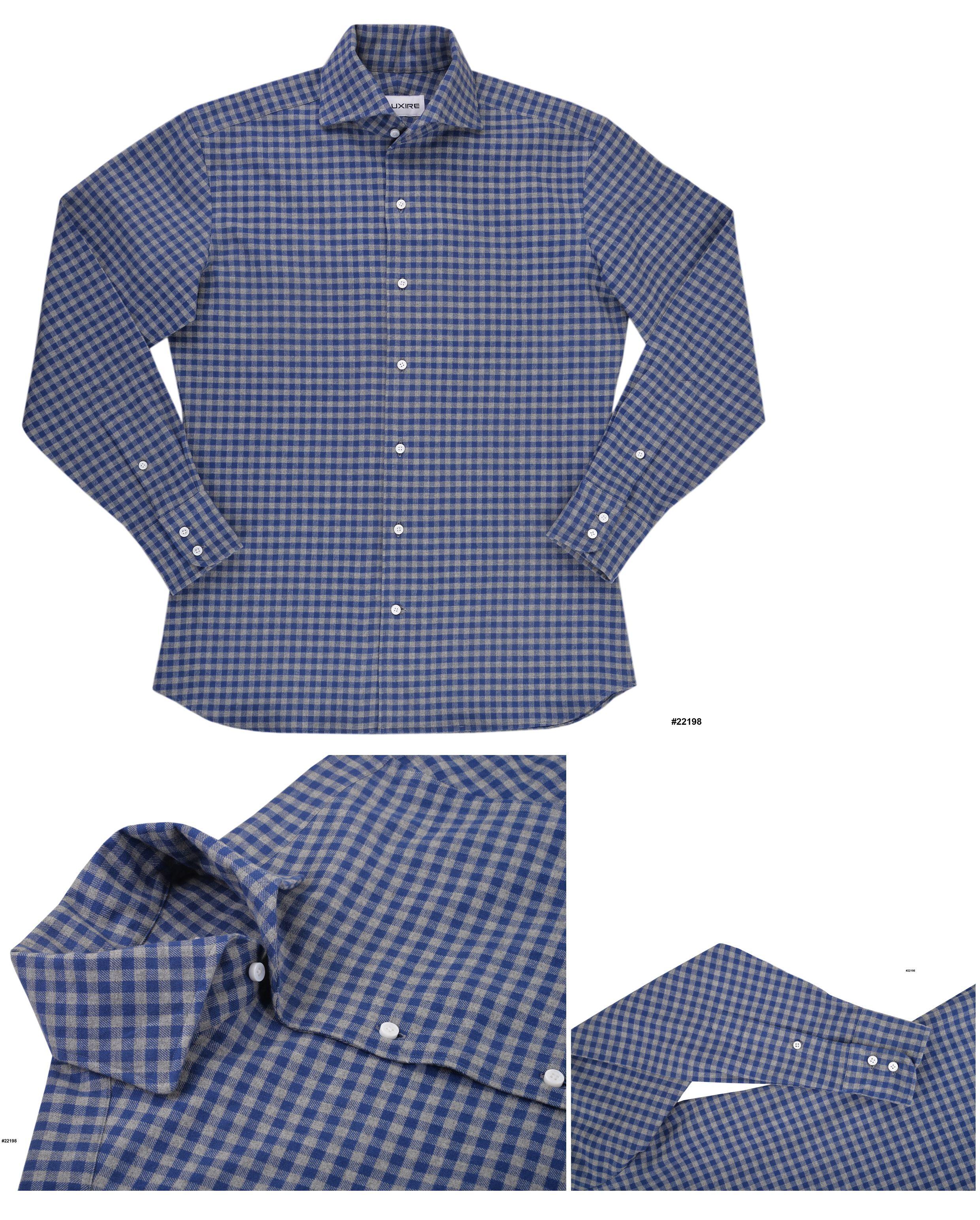Blue Indigo Grey Gingham Flannel Work Shirt Luxire Shirts Shirts