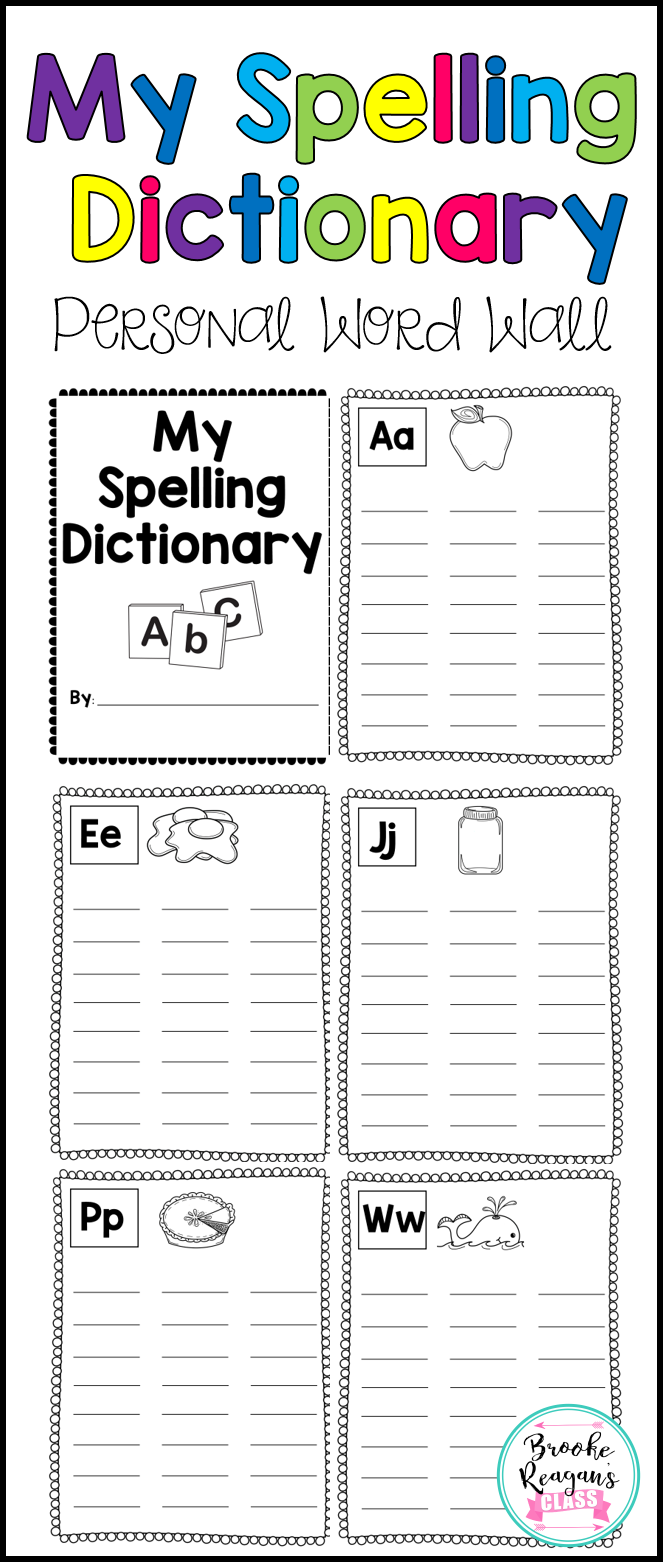 Spelling Dictionary Personal Word Wall Spelling