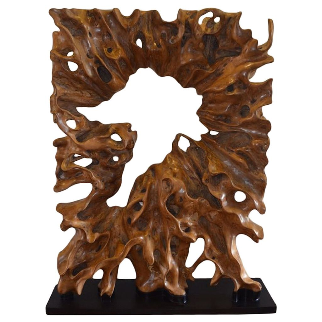Single Teak Wood Root Sculpture On Modern Steel Base