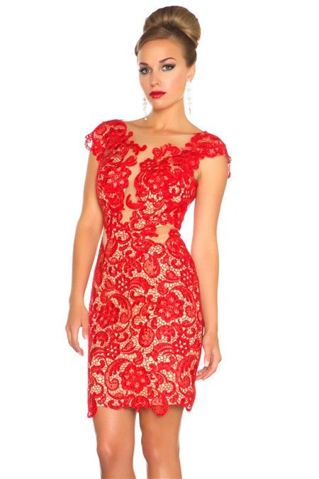 Sexy Sheath Illusion Neckline Cap Sleeve Backless Short Red Lace ...