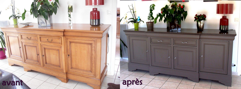 Avant buffet enfilade en ch ne vernis apr s peinture et stucco lustro sur le plateau gris - Relooking vieux meubles ...