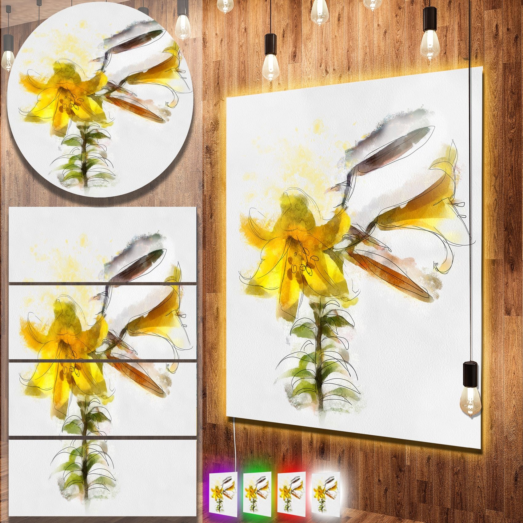 Designart \' Tulip Stem with Leaves\' Floral Metal Wall Art   Products ...