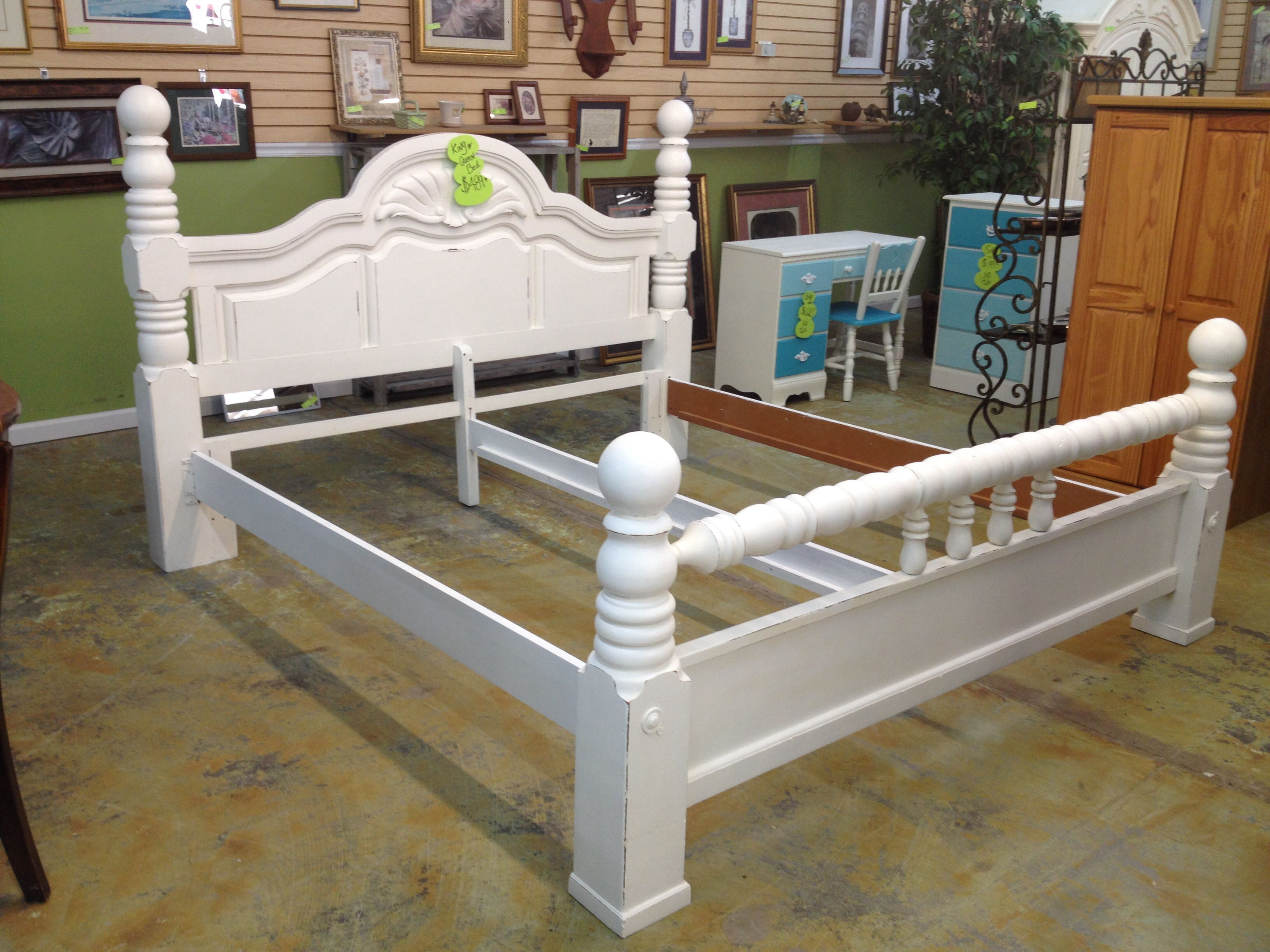 White Painted Distressed And Lightly Antiqued Cannonball King Bed Bed Makeover Cannonball Bed Painted Bedroom Furniture