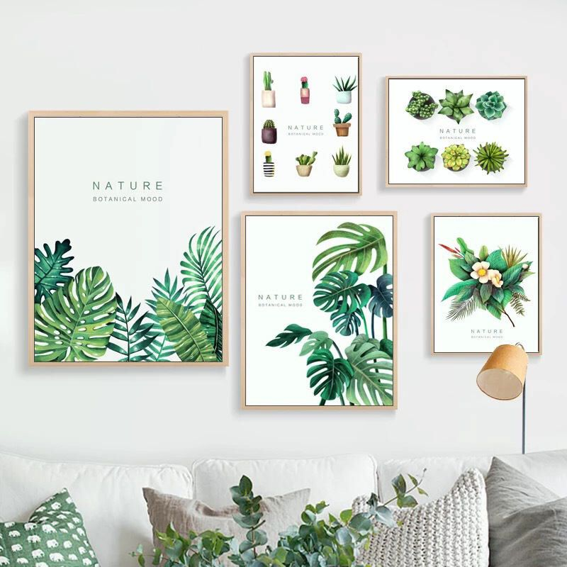 Green Leaf Print Canvas Wall Art Framed Botanical Green Plant Nature Home  Modern Art Deco,