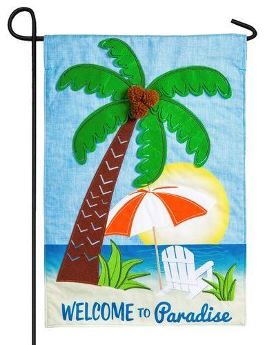 Linen Applique Paradise Palm Tree Decorative Garden Flag Garden