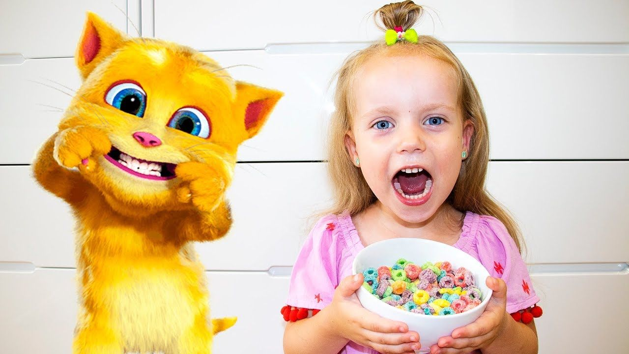 Gaby And Alex Playing With Funny Cat And Eats Breakfast Funny
