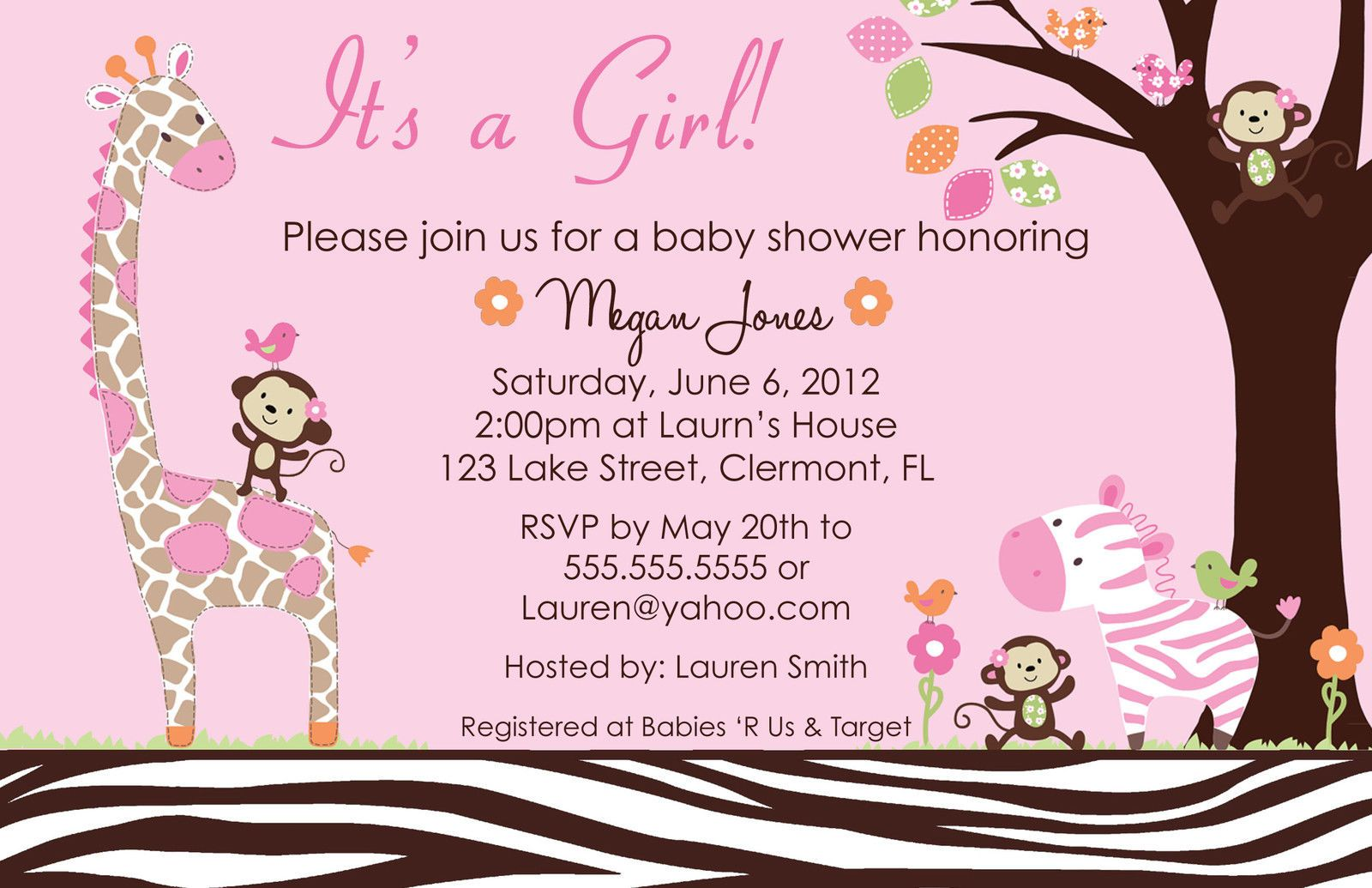Printed Carters Jungle Jill Baby Shower Invitation | Baby shower ...