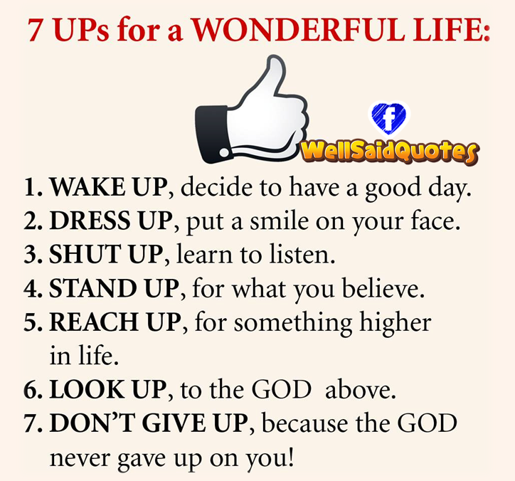 Wonderful Life Quotes: 7 Ups For A Wonderful Life