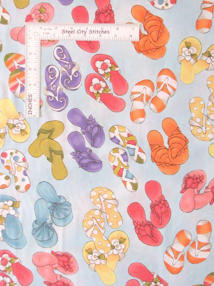 cdecaf53e Loralie Harris Fabric - Lazy Beach Flip Flop Shoes Toss Lt Turq  692-124 -  Yard  LoralieHarrisDesignsFabric