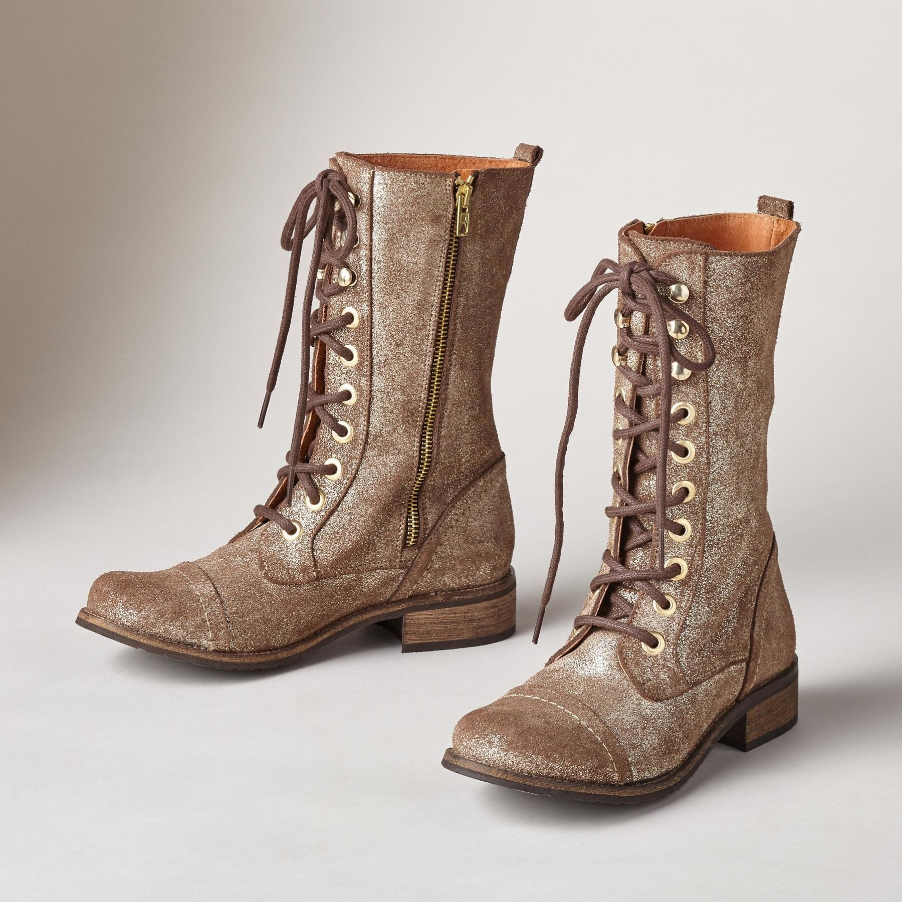 TAROT BOOTS  These vintage shimmer suede combat boots seem dusted with a  touch