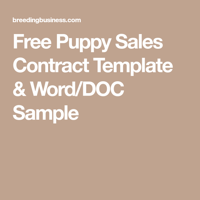 Free Puppy Sales Contract Template Word Doc Sample Puppy