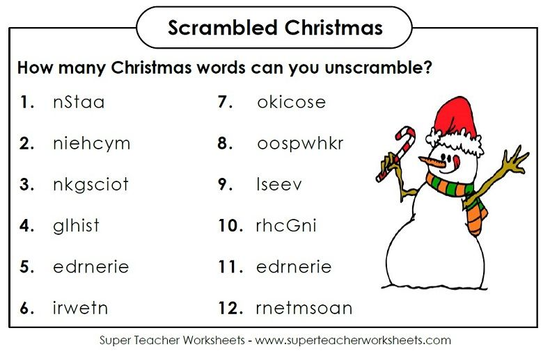 How Many Christmas Words Can You Unscramble Holidays