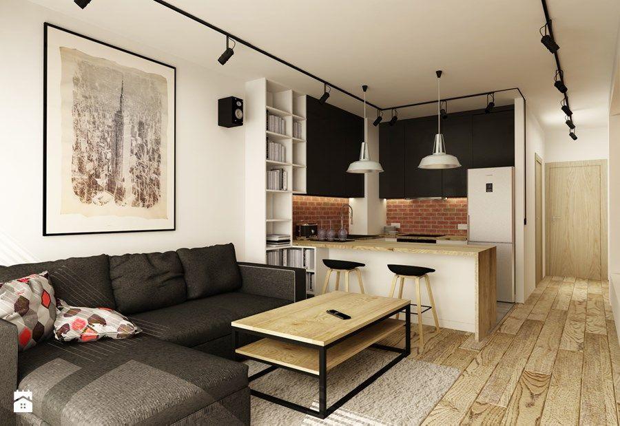 Zdjecie Salon Styl Industrialny Apartment Interior Design Brick Living Room Small Apartment Design