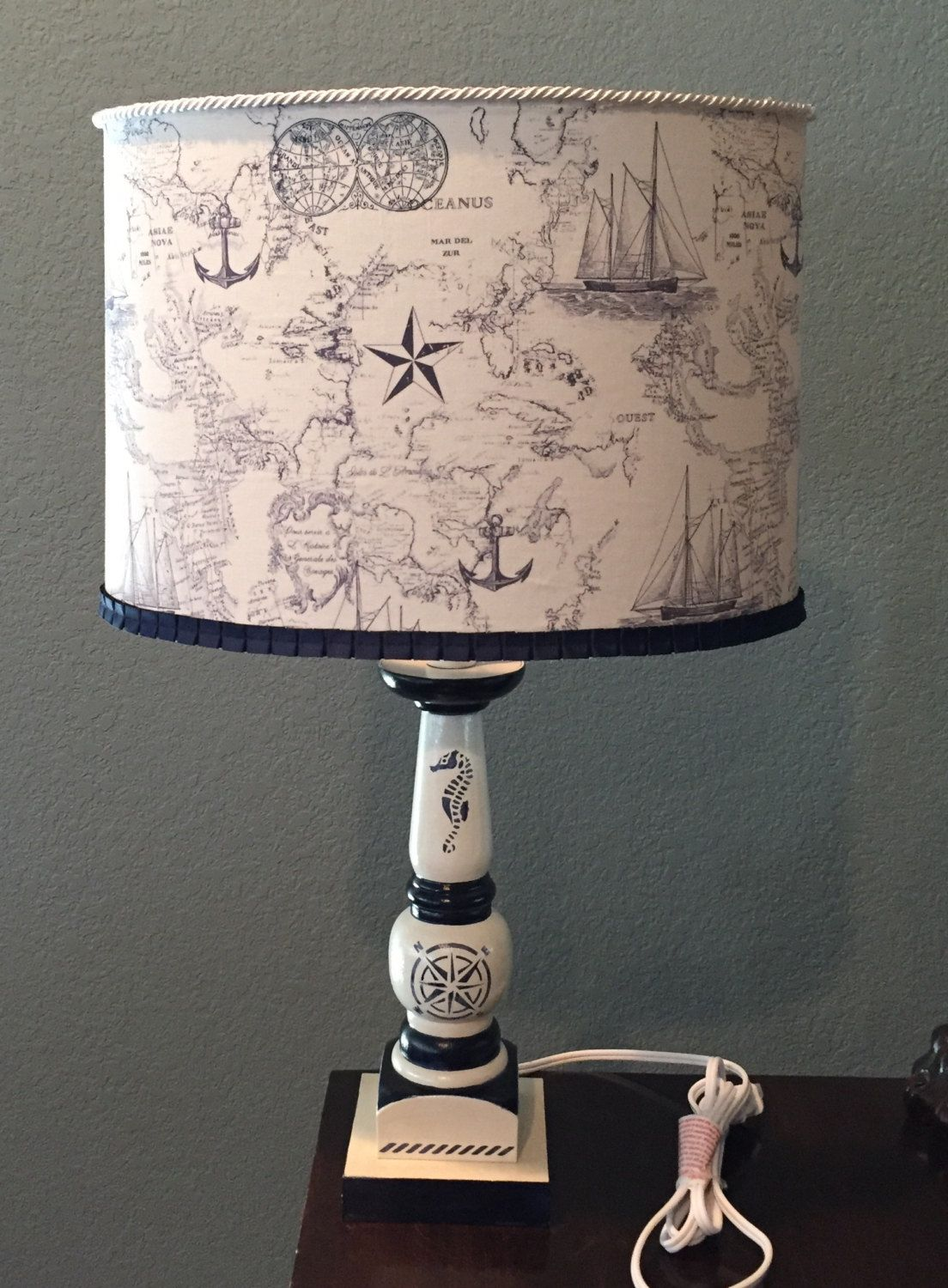 Nautical Theme Hand Painted Lamp With Handmade Fabric Lampshade By Holychicboutiqueco On Etsy Painting Lamps Lamp Fabric Lampshade