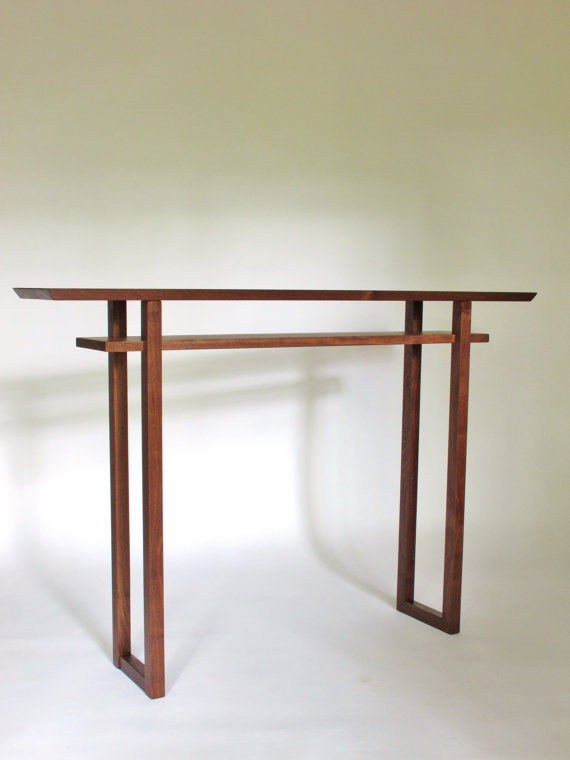 Wonderful IN STOCK Solid Walnut Narrow Console Table: For Hallways, Narrow Side Table,  Wood