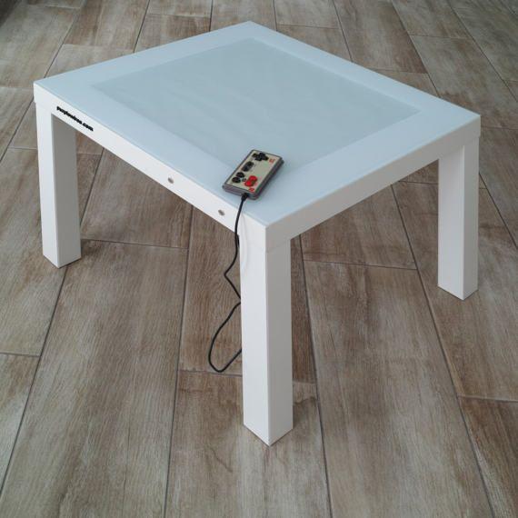 White Led Coffee Table. Retro Tetris Game. Home Interior. Gift