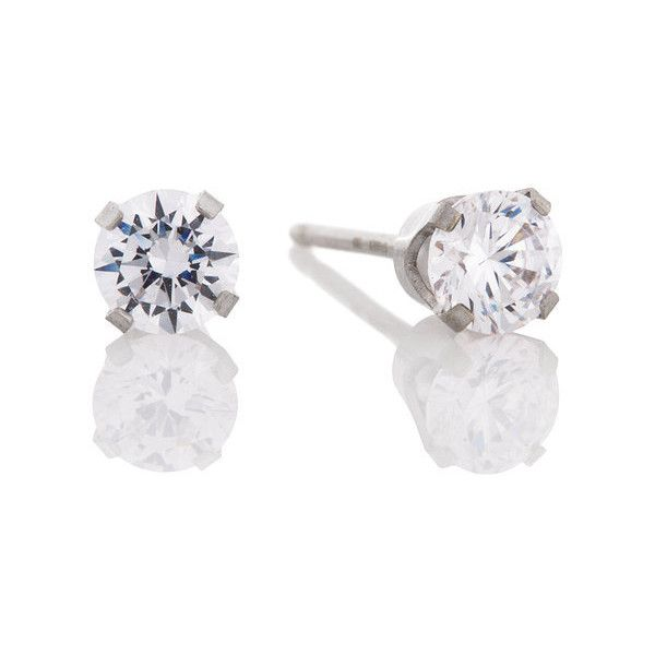 Claire S Long Post 14k White Gold Earring 57 Liked On Polyvore