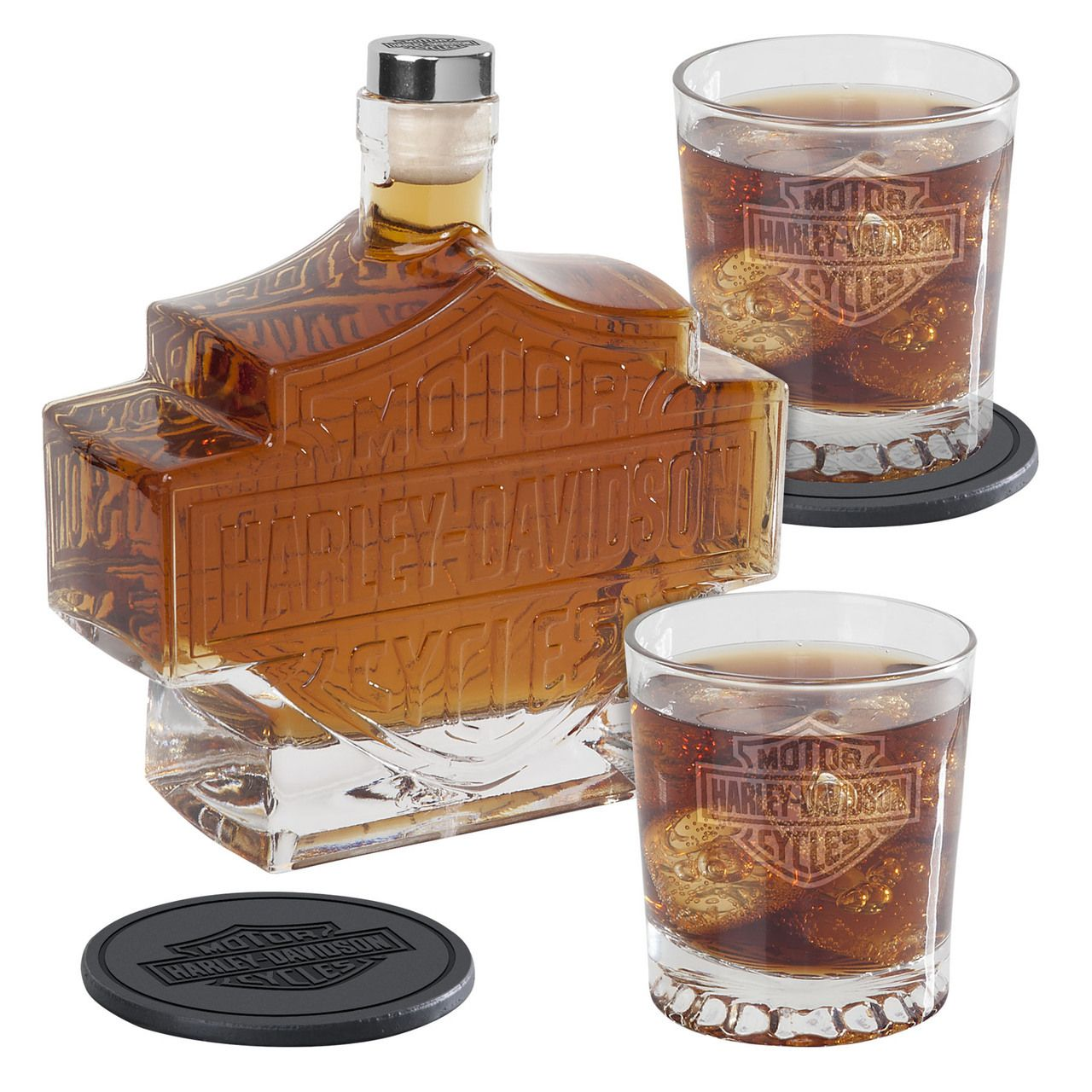 Harley Davidson Decanter Set Liquor Pitcher Glass