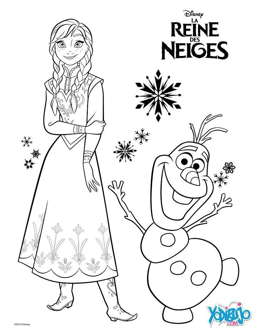 Dibujo para colorear : Anna y Olaf - La Reina de las Nieves ...