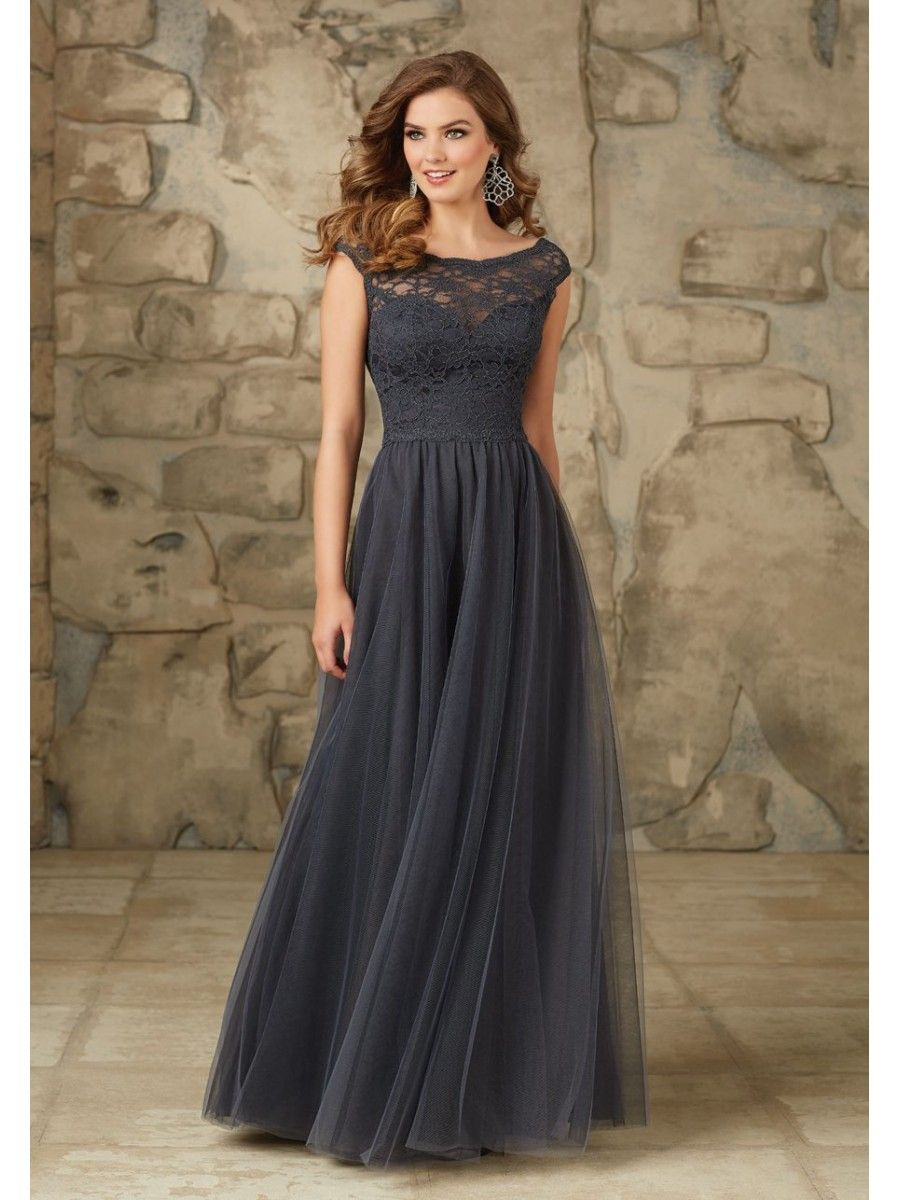 Elegant lace and tulle offtheshoulder long bridesmaid dresses