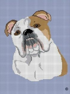ENGLISH BULLDOG DOG CROCHET AFGHAN CROSS STITCH PATTERN GRAPH CHART