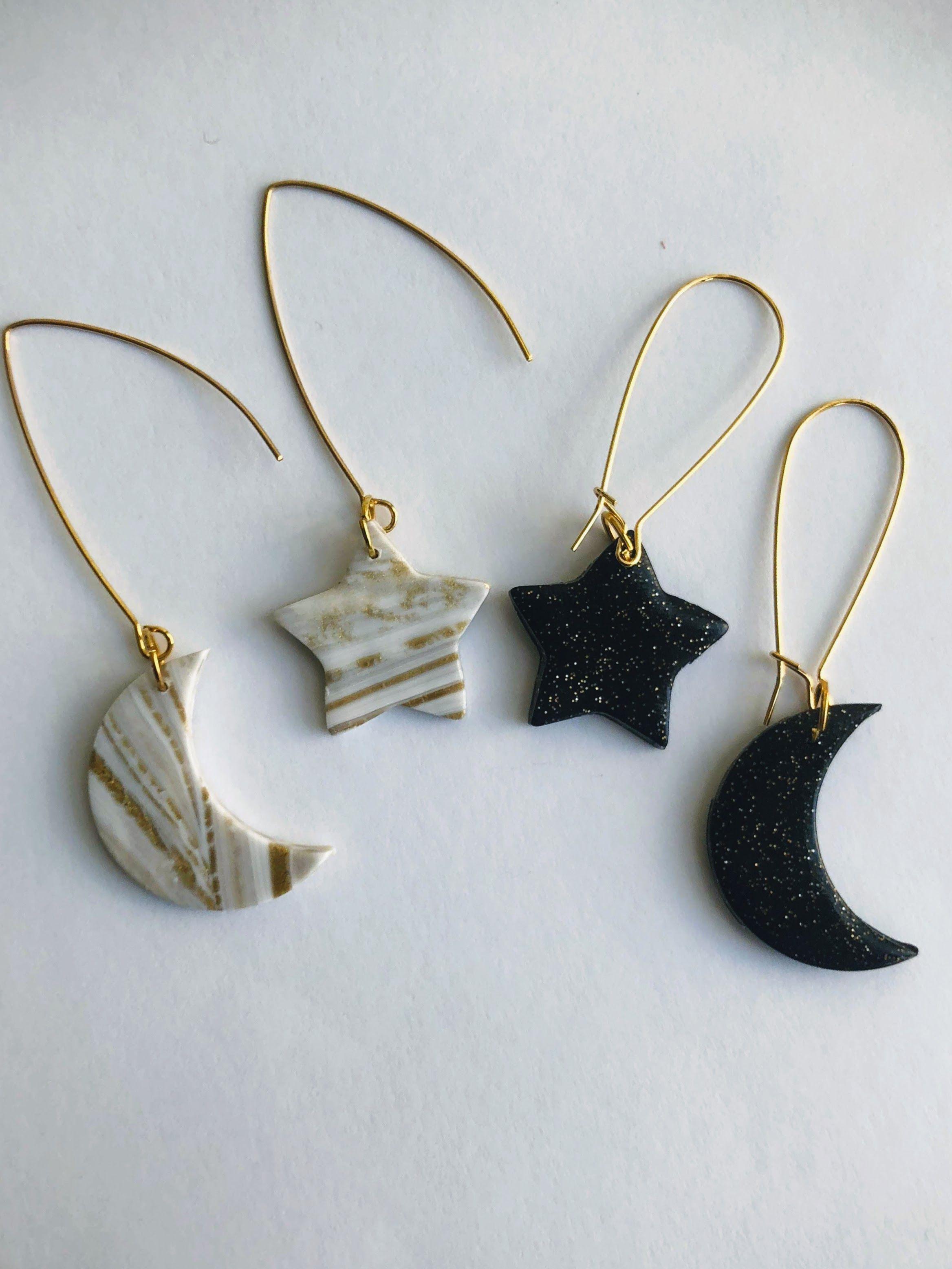 Star And Moon Asymmetrical Earrings 14 Polymer Clay Jewelry Diy Polymer Clay Jewelry Diy Clay Earrings