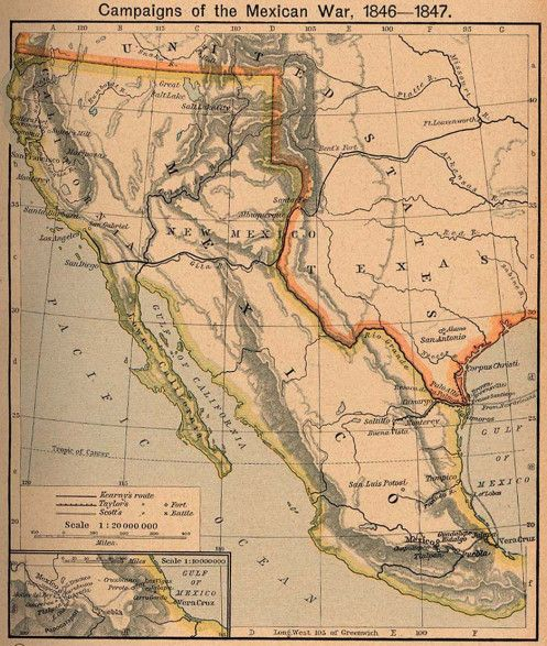 1846-1848. The short Mexican–American War. Mexican Cession ...