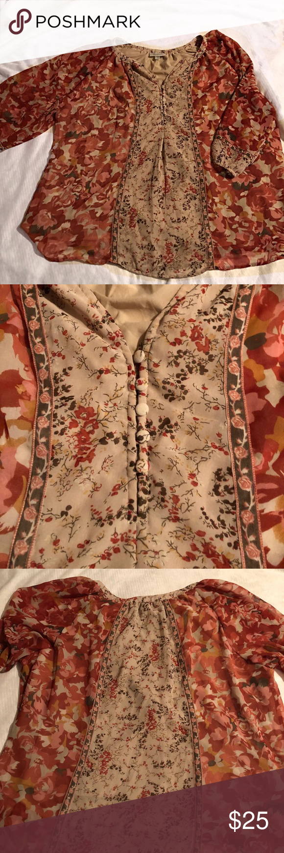 Neutral colored floral print Dressbarn top Neutral tan background highlights a beautiful mauve and red floral print. This top is full of details from the 5 decorative buttons to the slight front pin tuck that adds shape. Flowy and lightweight feel. Lined. EUC 3/4 sheer sleeves.   100% polyester Dress Barn Tops Blouses