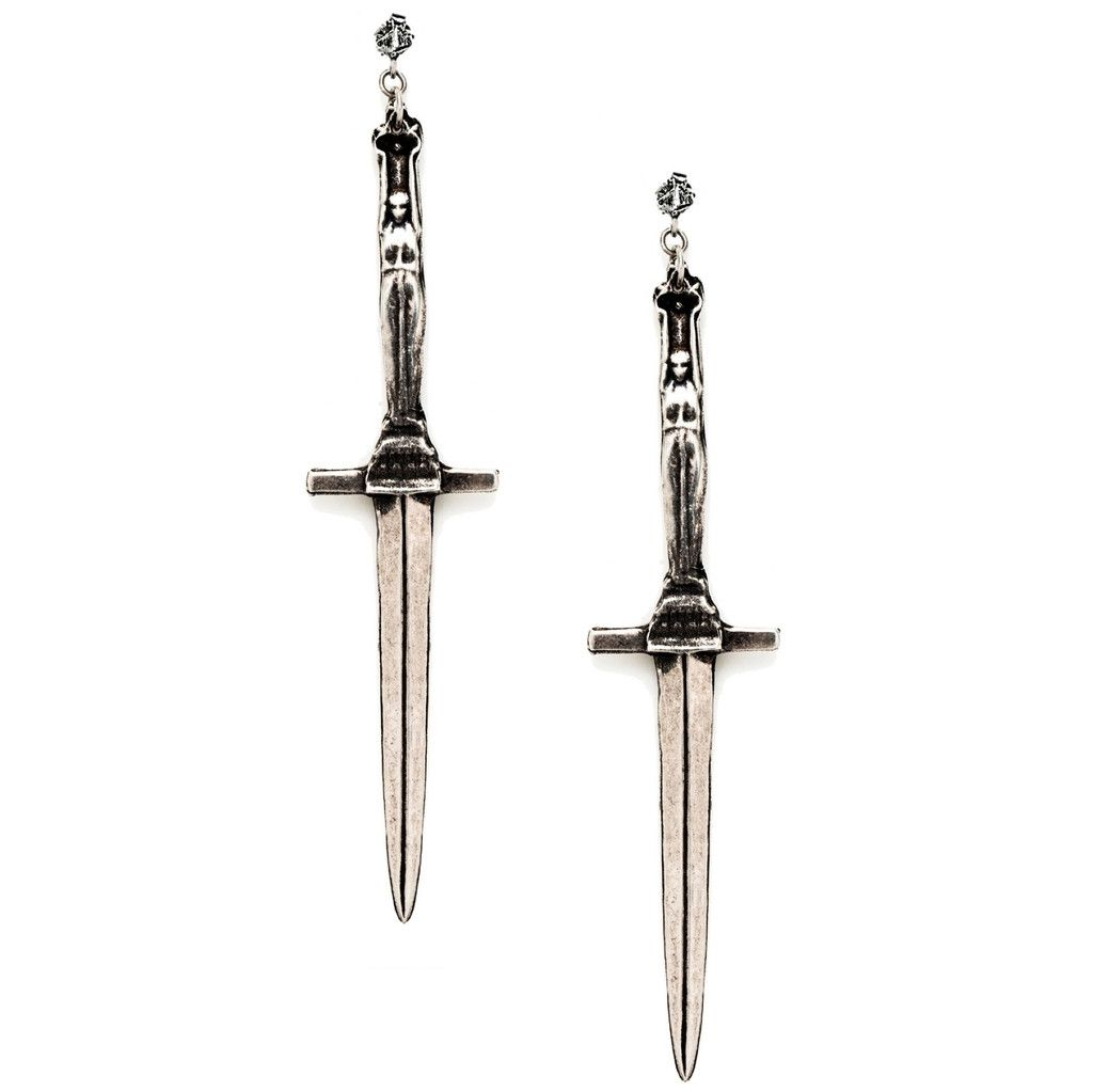 Pamela Love 18k yellow gold diamond dagger earrings L2HGr8e