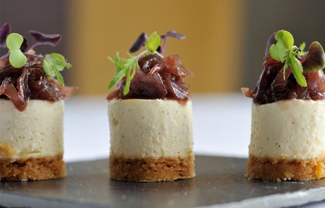 Goat 39 s cheesecake with red onion jam recipe chefs for Canape quiche recipe