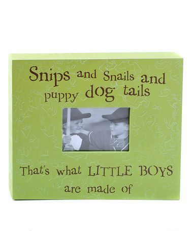 Take a look at this Alligator Green & Chocolate 'Snips and Snails' Picture Frame by Forest Creations on #zulily today!