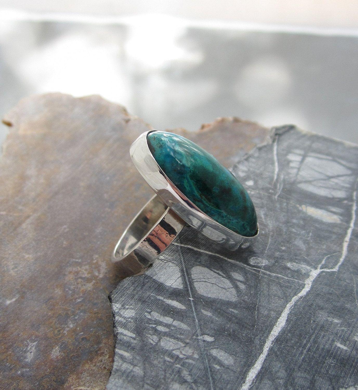Gemstone Ring, Chrysocolla in Sterling. $86.00, via Etsy.