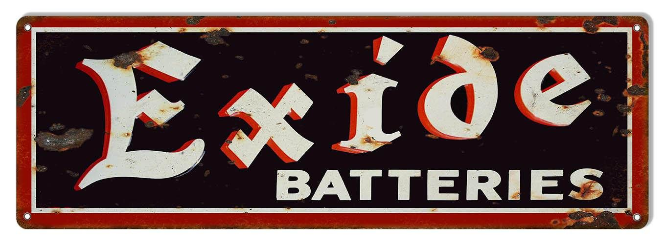 Exide Batteries Gas Station Sign 8 X 24 Vintage Aged Style Etsy In 2021 Gas Station Metal Signs Gas