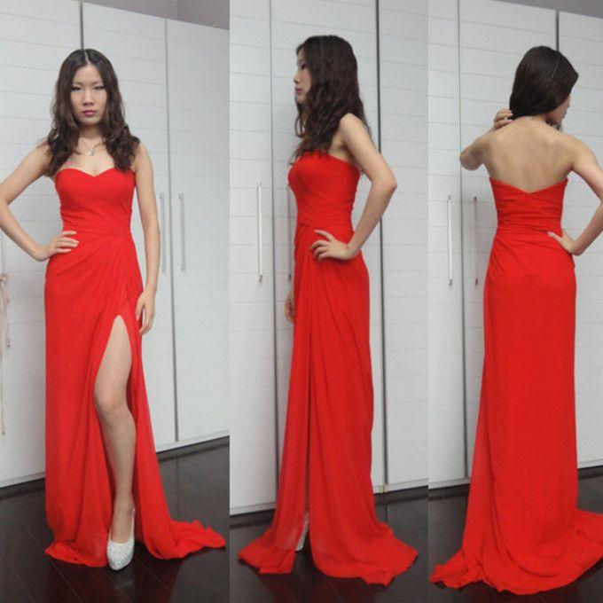 2014 Popular Summer Strapless Prom Dresses High Side Slit Long ...