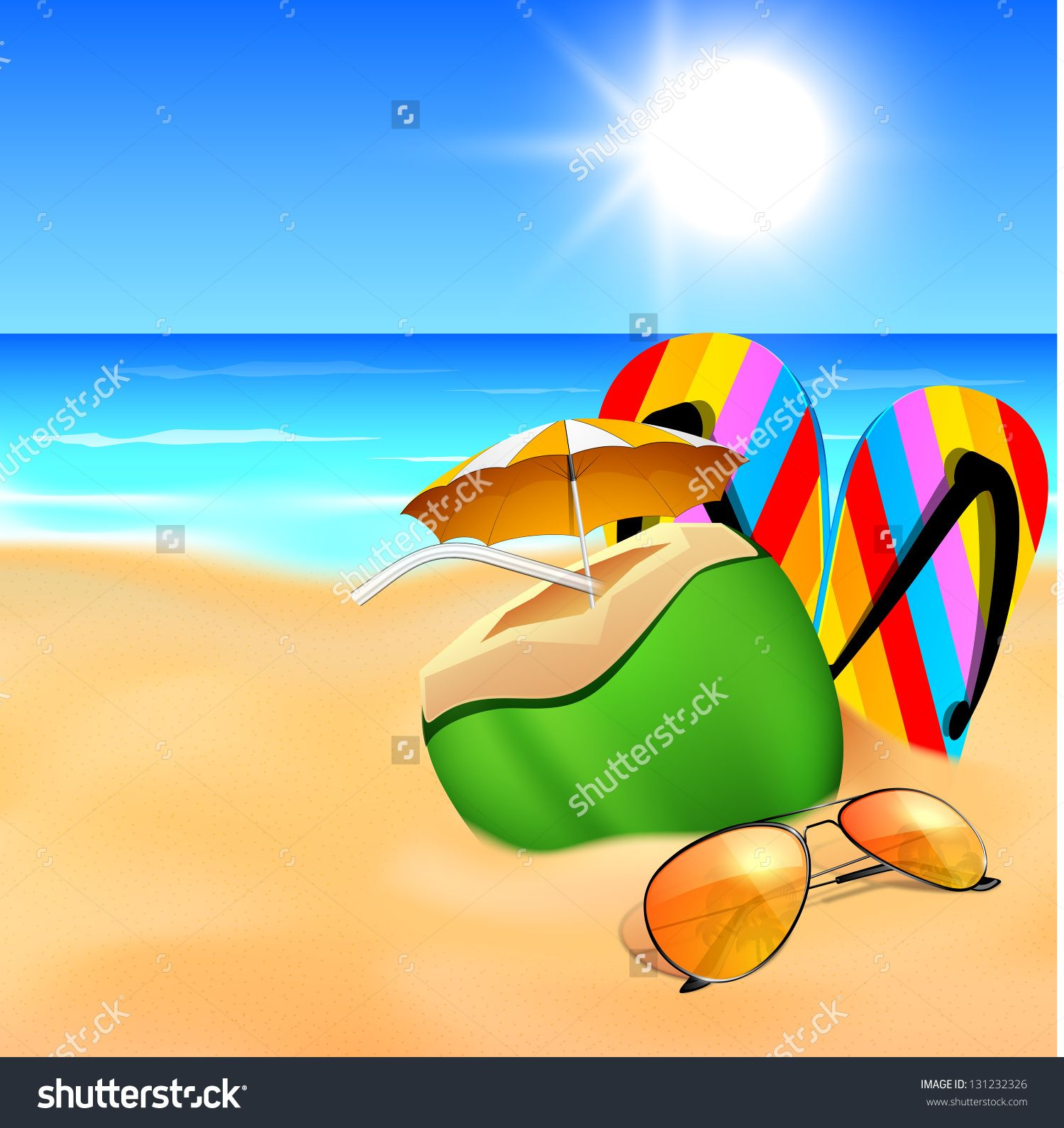627a20ddf50c Evening Background With Sunglasses, Flip Flops And Refreshment At Sea Beach.  Stock Vector Illustration 131232326 : Shutterstock
