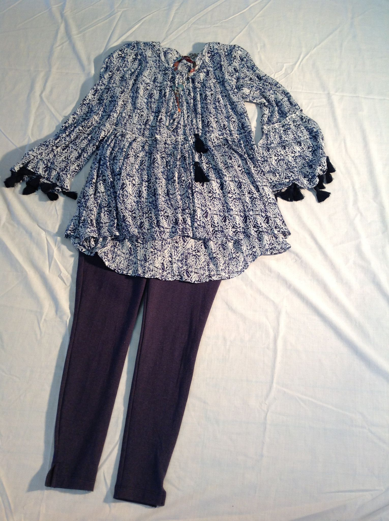 Avani Navy top w/tassels