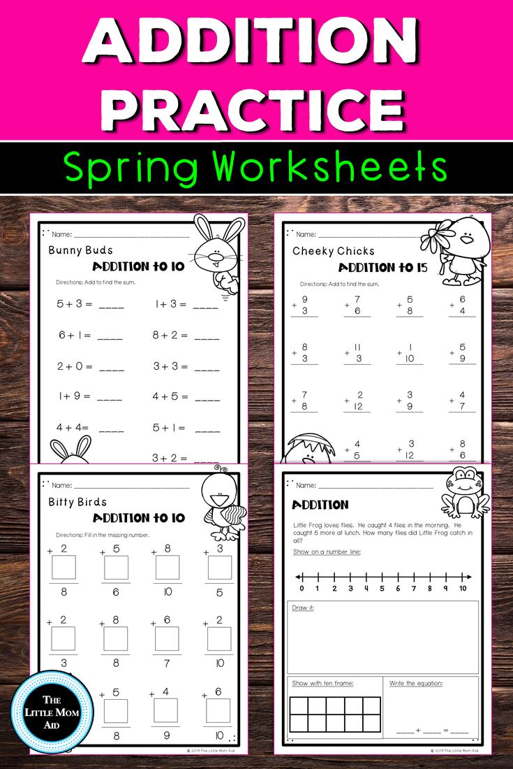 Spring Math Addition Worksheets Kindergarten To 1st Grade Math Addition Worksheets Spring Math Math Addition [ 1100 x 735 Pixel ]