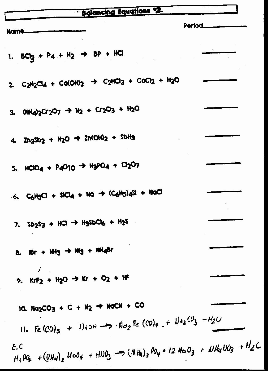 Balancing Equations Worksheet Answers Inspirational