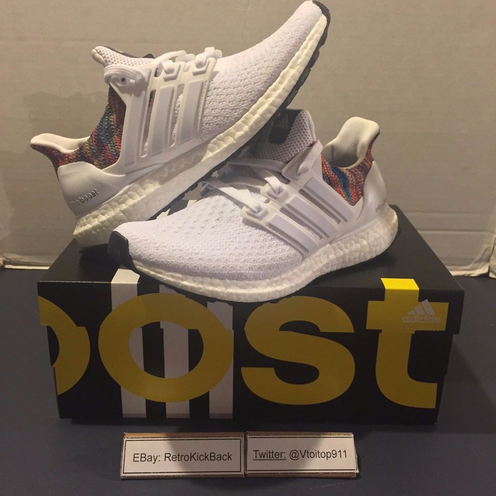 af3b1a36b7374 Item  MiAdidas Ultra Boost Rainbow White. Style  BY1756. 100% Authentic.