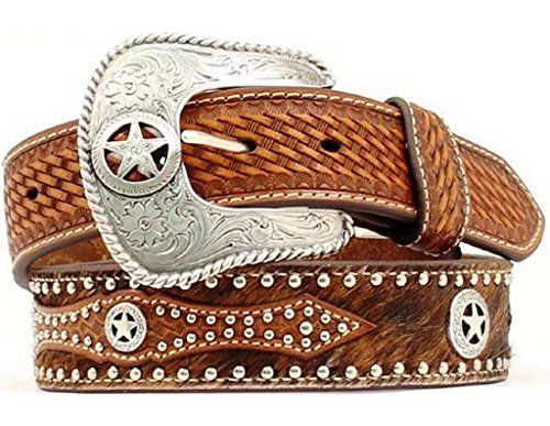 Nocona Western Belt Mens Leather Hair Star Concho 38 Brown N2506808 * Want to know more, click on the image. Note:It is Affiliate Link to Amazon.