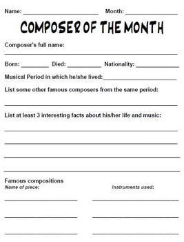Composer Of The Month Worksheet  Outlines Template And Worksheets